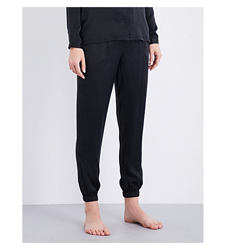 CALVIN KLEIN Signature silk-satin pyjama set (001+black