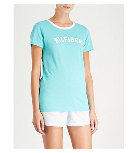 TOMMY HILFIGER 徽标打印平纹针织棉 T 恤 (480 + 蓝色 + 绿松石