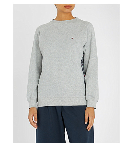 TOMMY HILFIGER 标识刺绣平纹针织面料睡衣上衣 (004 + 灰 + 石楠