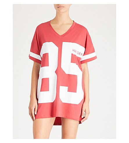 Cheap 2018 Outlet Big Discount TOMMY HILFIGER Logo stretch-jersey night dress 667 american beauty Clearance Pay With Paypal Clearance Authentic HXA5FC05A