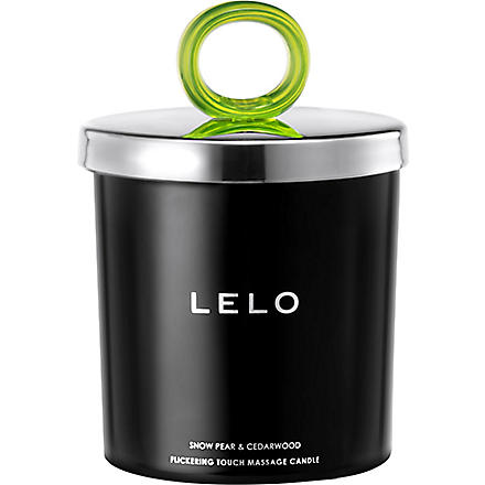 LELO Flickering Touch snow pear and cedarwood massage candle (Black