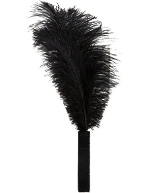 BOX OF GREY Black feather with hide handle