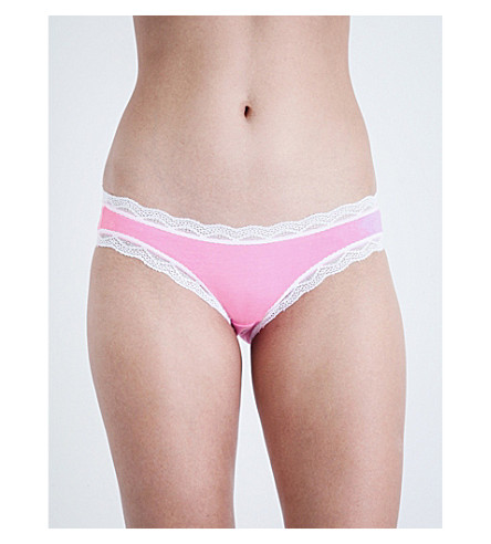 CHEEK FRILLS Salad jersey bikini briefs (Pop+pink