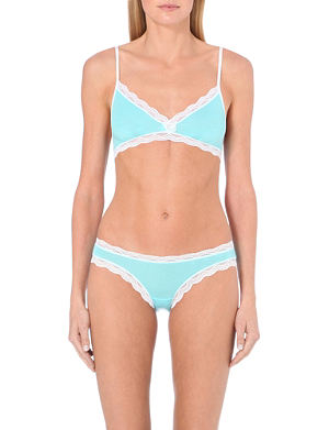 CHEEK FRILLS Salad jersey bralet and brief set