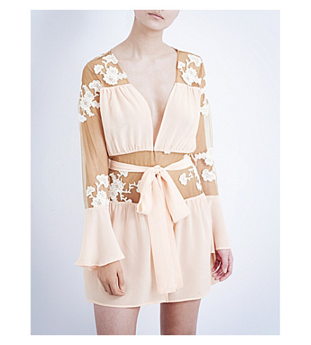 FOR LOVE AND LEMONS SKIVVIES Darla silk-chiffon and tulle robe (Blush