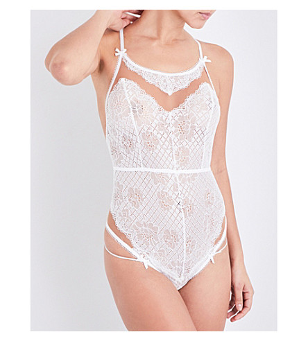 FOR LOVE AND LEMONS SKIVVIES Daffoldil stretch-lace bodysuit (White