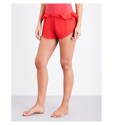 FOR LOVE AND LEMONS SKIVVIES Little Rosette georgette sleep shorts (Red+spice