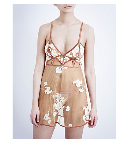 FOR LOVE AND LEMONS SKIVVIES Darla tulle nightdress (Blush