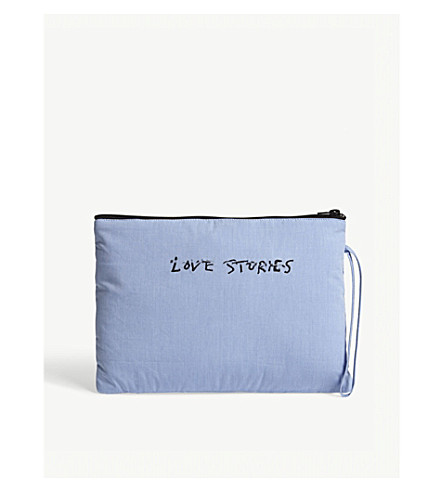 LOVE STORIES Embroidered logo cotton wash bag (Blue