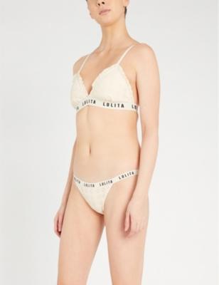 Lolita logo-print stretch-lace bra