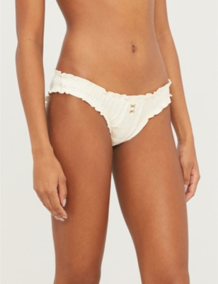 Lolita mid-rise ruched satin stretch-jersey briefs