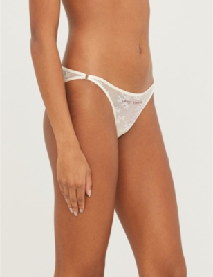 Shelby mid-rise logo-embroidered lace briefs