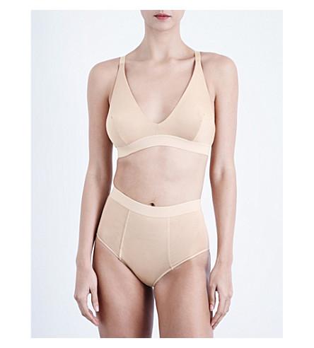 BASERANGE Triangle stretch-bamboo jersey soft-cup bra (Nude