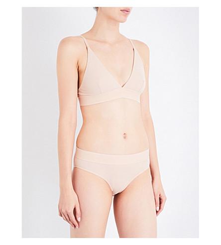 BASERANGE Triangle ribbed stretch-cotton bra (Dune