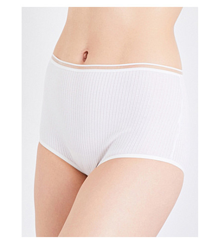 BASERANGE Bell high-rise ribbed organic cotton briefs (White