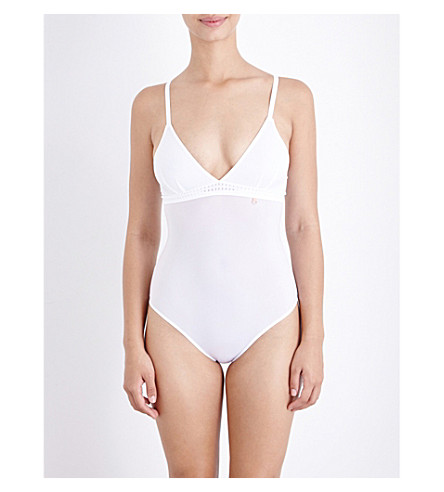 ELLE MACPHERSON BODY The Body perforated stretch-jersey body (Bright+white
