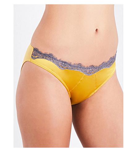 ELLE MACPHERSON BODY Slick satin bikini briefs (Lemon+curry