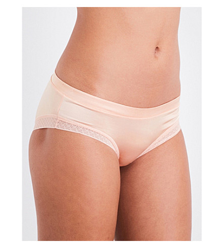 ELLE MACPHERSON BODY Slink stretch-satin and lace bikini briefs (Almost+apricot