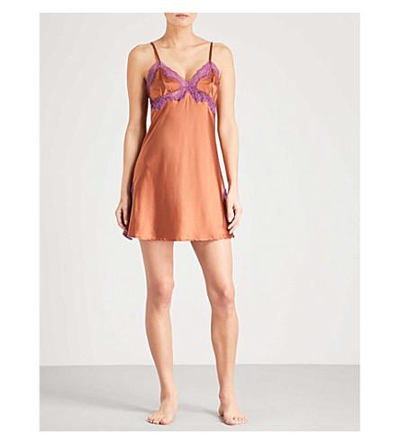 ELLE MACPHERSON BODY Soie lace and stretch-silk chemise (Saffron