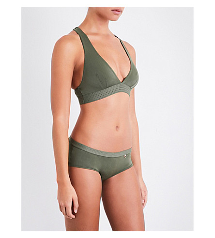 ELLE MACPHERSON BODY The Body perforated stretch-jersey soft-cup bra (Khaki