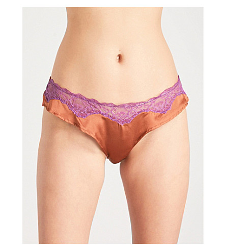 ELLE MACPHERSON BODY Soie French lace and stretch-silk bikini briefs (Saffron