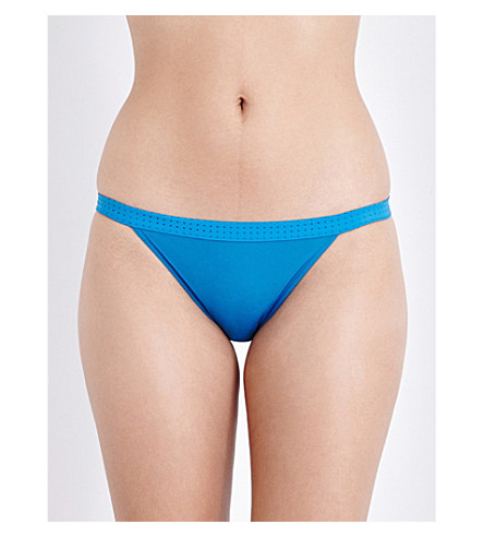 ELLE MACPHERSON BODY The Body perforated stretch-jersey tanga briefs (Mykonos