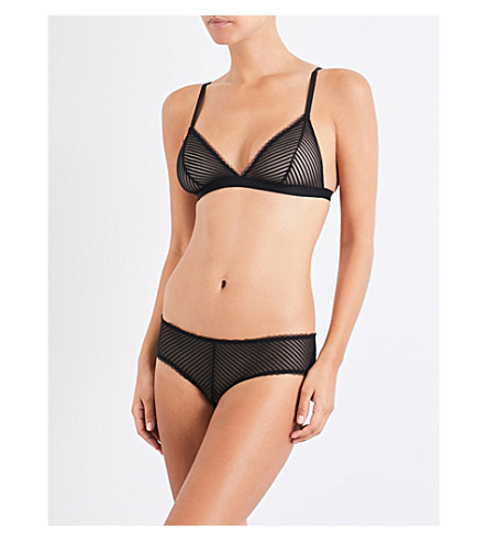 LES GIRLS LES BOYS Triangle mesh triangle bra (Black
