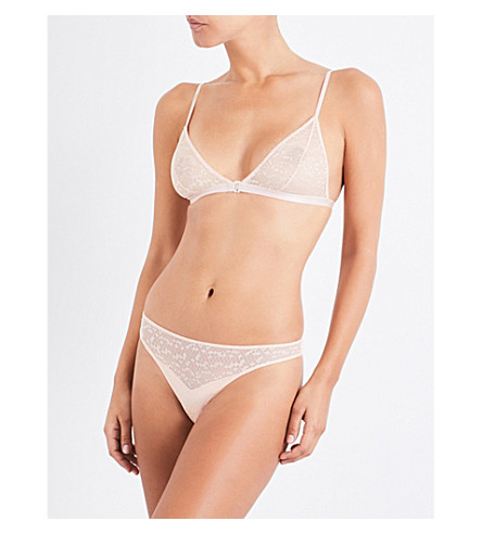LES GIRLS LES BOYS Snake lace and mesh triangle bra (Dust+pink