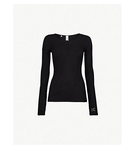 LES GIRLS LES BOYS Henley stretch-jersey pyjama top (Black