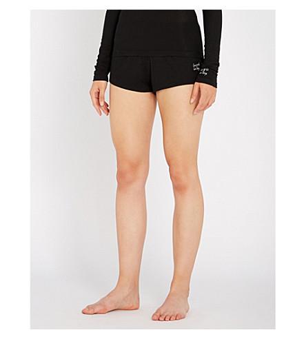 LES GIRLS LES BOYS Ribbed stretch-jersey pyjama shorts (Black