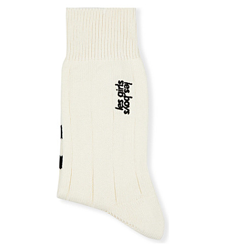 LES GIRLS LES BOYS Les Girls Les Boys long socks (Off+white+with+black+stp