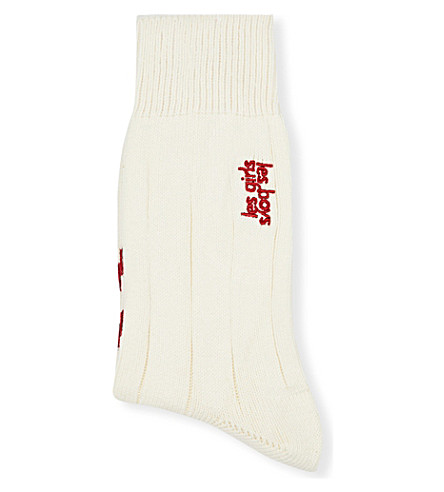 LES GIRLS LES BOYS Les Girls Les Boys long socks (O/white+with+c/red+stp