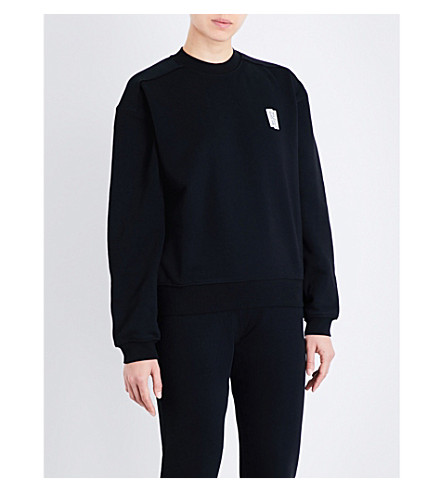 LES GIRLS LES BOYS迷你标志弹力棉卫衣 (黑色