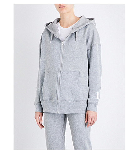 LES GIRLS LES BOYS Mini Logo zip-up stretch-cotton hoody (Grey marl