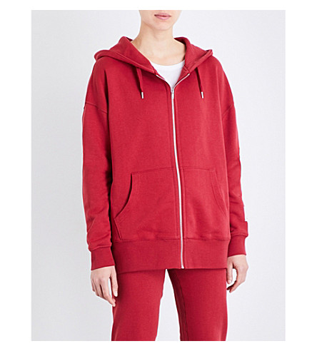 LES GIRLS LES BOYS Mini Logo zip-up stretch-cotton hoody (College+red