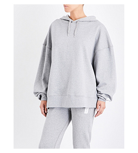 LES GIRLS LES BOYS Oversized stretch-jersey hoody (Grey+marl