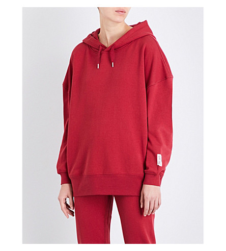 LES GIRLS LES BOYS Mini Logo oversized stretch-cotton hoody (College+red