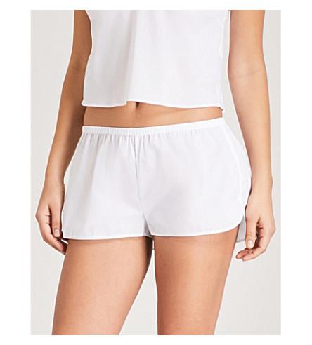 LES GIRLS LES BOYS Logo-embroidered cotton pyjama shorts (White