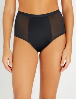 High-waist stretch-cotton briefs