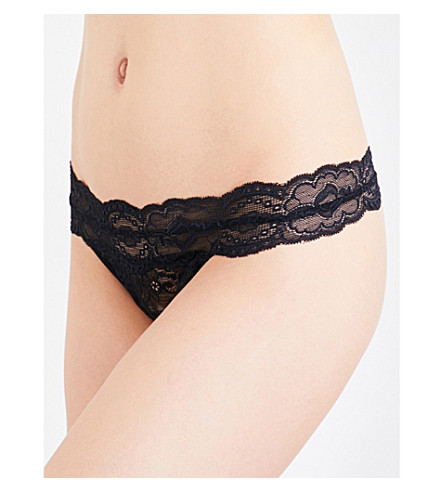 PASSIONATA Lulu stretch-lace thong (Black