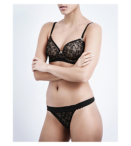 HEIDI KLUM INTIMATES Sheer Infinity underwired balconette bra (Black/cameo+rose