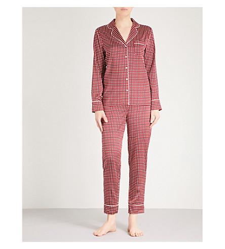 STELLA MCCARTNEY Poppy snoozing silk-blend pyjama set (Red+polka+dot