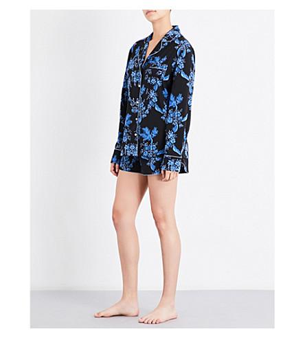 STELLA MCCARTNEY 罂粟午睡弹力丝绸睡衣套装 (蓝色 + 石膏 + 花卉 + 打印