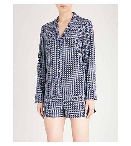 STELLA MCCARTNEY Poppy Snoozing stretch-silk pyjama set (Navy+tie+print