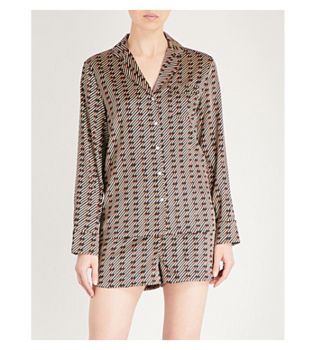 STELLA MCCARTNEY Poppy snoozing silk-blend pyjama set (Dark+matches+print