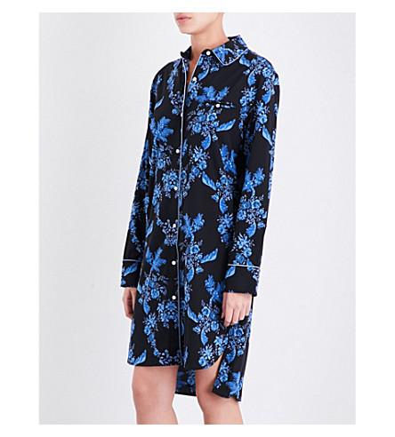 STELLA MCCARTNEY Poppy Snoozing stretch-silk nightshirt (Blue+gesso+floral+print