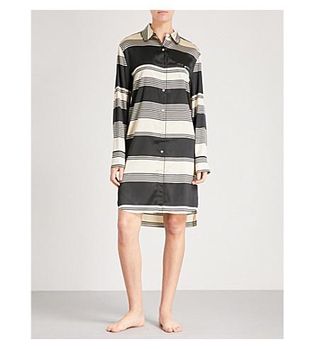 STELLA MCCARTNEY Poppy Snoozing stretch-silk nightshirt (Black+&+cream+stripe