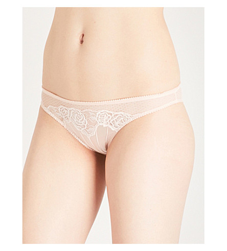 STELLA MCCARTNEY Allegra satin and lace bikini briefs (Peony