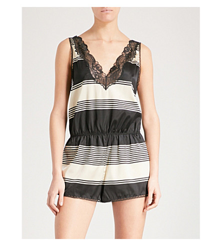 STELLA MCCARTNEY Poppy Snoozing stretch-silk playsuit (Black+&+cream+stripe