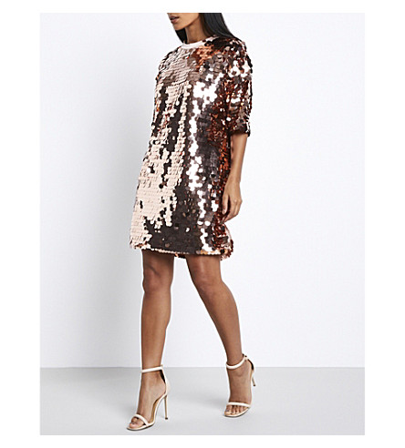 MISSGUIDED Sequinned T-shirt dress (Rosie+gold